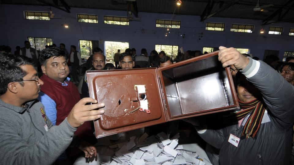 The counting in Jewar, in Greater Noida, on Friday.