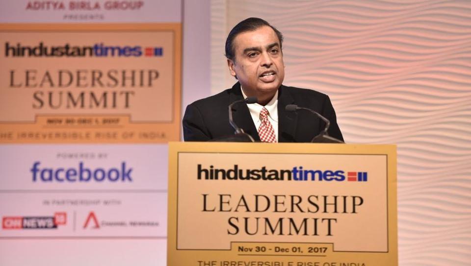 Reliance Industries chairman Mukesh Ambani speaks at the 15th HTLeadership Summit.