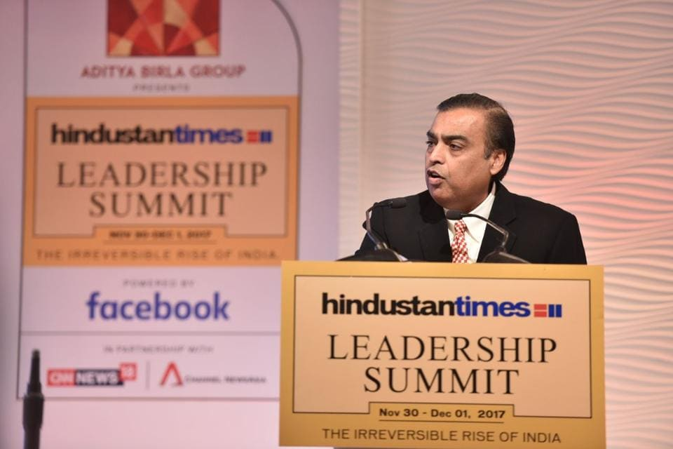 Mukesh Ambani, chairman and managing director of Reliance Industries Limited, addresses the Hindustan Times Leadership Summit.