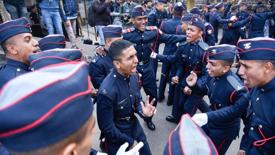 Cadets celebrate after the Passing Out Parade of the 133rd course of the National Defence Academy (NDA) in Pune on Thursday.  (Sanket Wankhade/HT PHOTO)