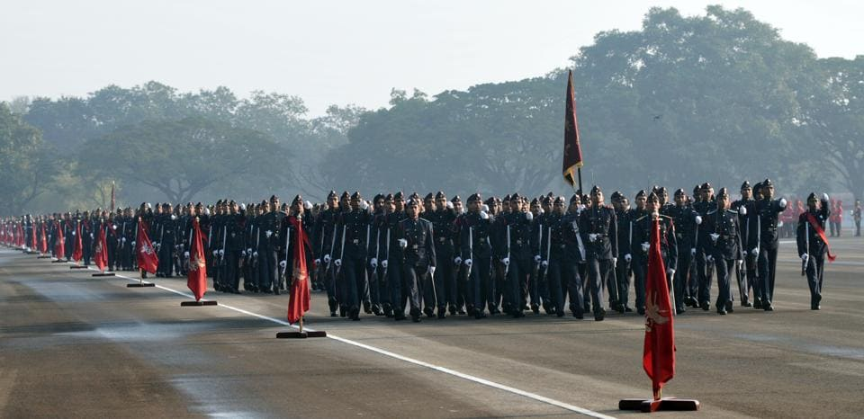 Cadets march during the Passing Out Parade of the 133rd course of the National Defence Academy (NDA) in Pune on Thursday. (HT PHOTO)