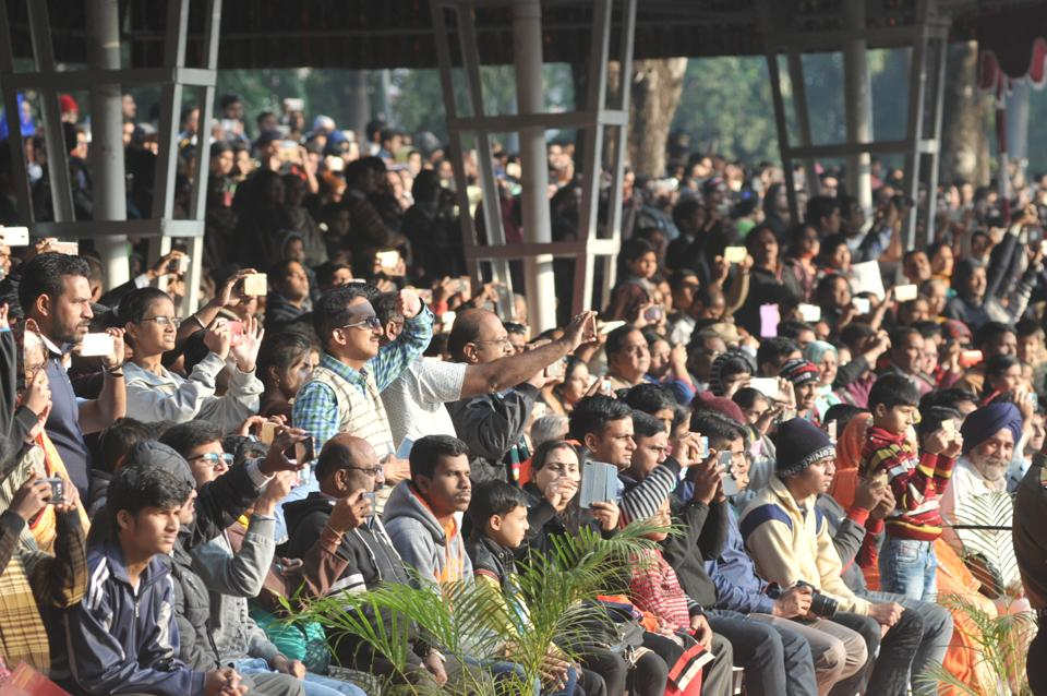 Spectators during the Passing Out Parade of the 133rd course of the National Defence Academy (NDA) in Pune on Thursday. (ht photo)