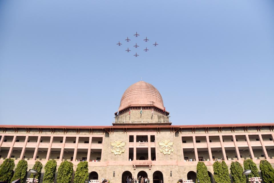Indian Airforce planes perform 'Suryakiran' exercise above the Sudan Block during the Passing Out Parade of the 133rd course of the National Defence Academy (NDA) in Pune on Thursday. (Sanket Wankhade/HT PHOTO)