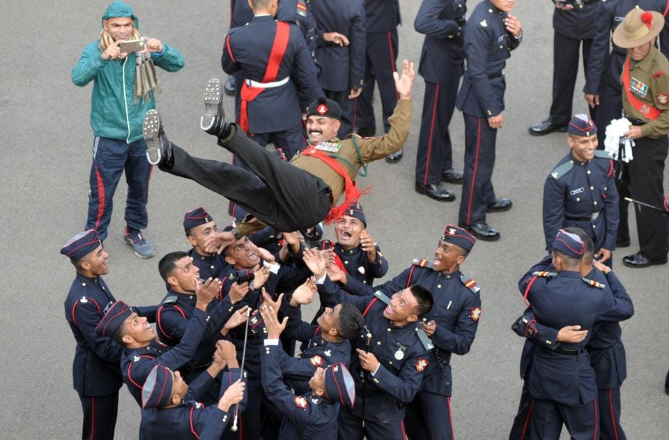 Cadets celebrate after the Passing Out Parade of the 133rd course of the National Defence Academy (NDA) in Pune on Thursday. (ht photo)