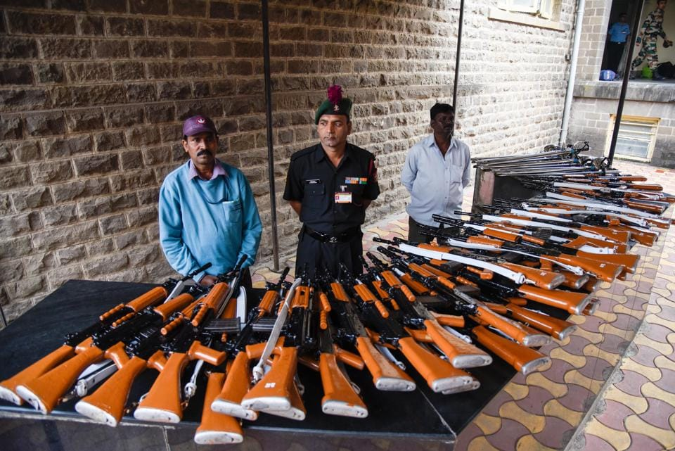 Cadets's guns kept on display at the Passing Out Parade of the 133rd course of the National Defence Academy (NDA) in Pune on Thursday.  (Sanket Wankhade/HT PHOTO)