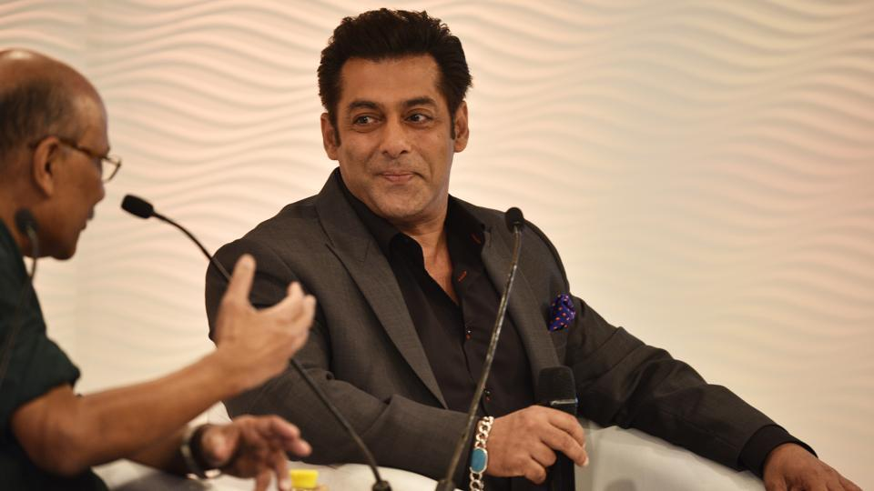 "Salman Khan, actor in conversation with Shekhar Gupta, Chairman and Editor-in-Chief of ThePrint, during the 15th Hindustan Times Leadership Summit said, ""I think I have lead the most boring life, it's just that the media fraternity has made it interesting."" (Sanchit Khanna / HT Photo)"