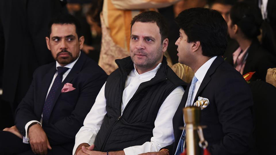 (From L-R) Robert Vadra, Rahul Gandhi and Jyotiraditya Scindia during Day 2 of Hindustan Times Leadership Summit in New Delhi on Thursday. (Burhaan Kinu / HT Photo)