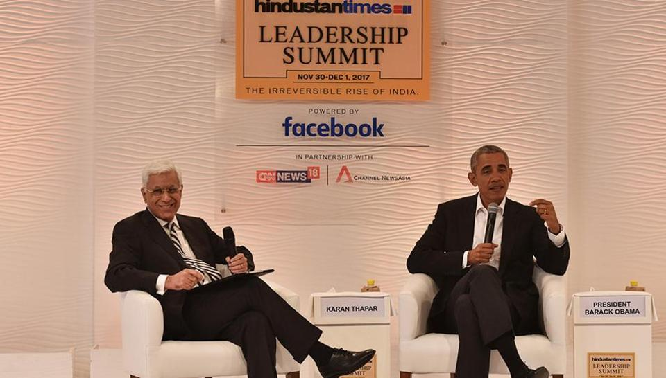 Barack Obama, former president of the US, in conversation with Karan Thapar during the Hindustan Times Leadership Summit in New Delhi on Friday