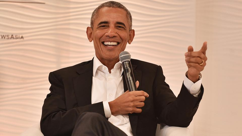 Former US president Barack Obama at the Hindustan Times Leadership Summit in New Delhi on Friday.