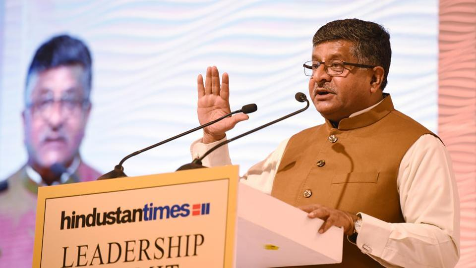 Ravi Shankar Prasad, Union Minister of Law and Justice and Electronics and Information Technology during the Hindustan Times Leadership Summit 2017 in New Delhi. (Virendra Singh Gosain / HT Photo)