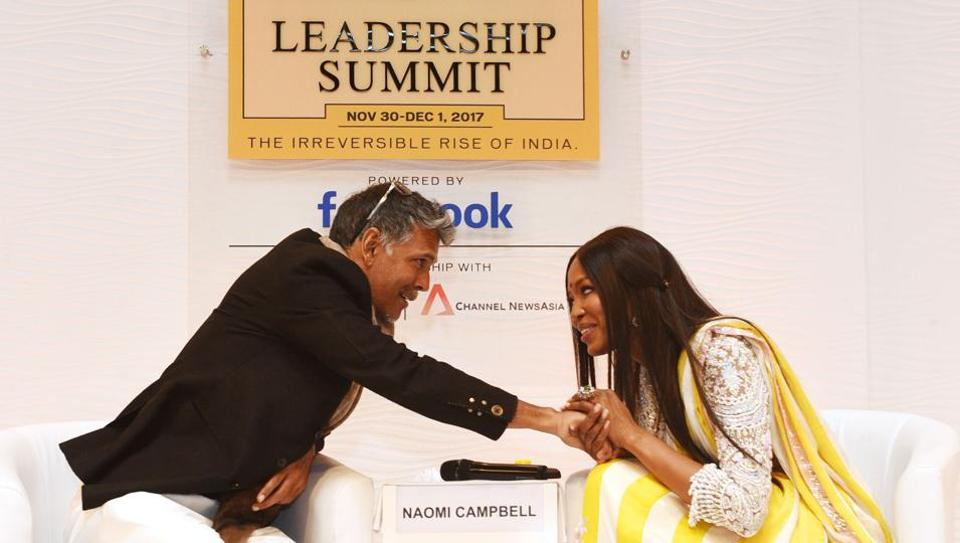 I love it here. There are many strong women here, Naomi Campbell (R), supermodel, actress and social activist said in conversation with Milind Soman, supermodel, actor and social activist about her liking for India on Day 2 of the Hindustan Times Leadership Summit 2017 in New Delhi. (Vipin Kumar / HT Photo)