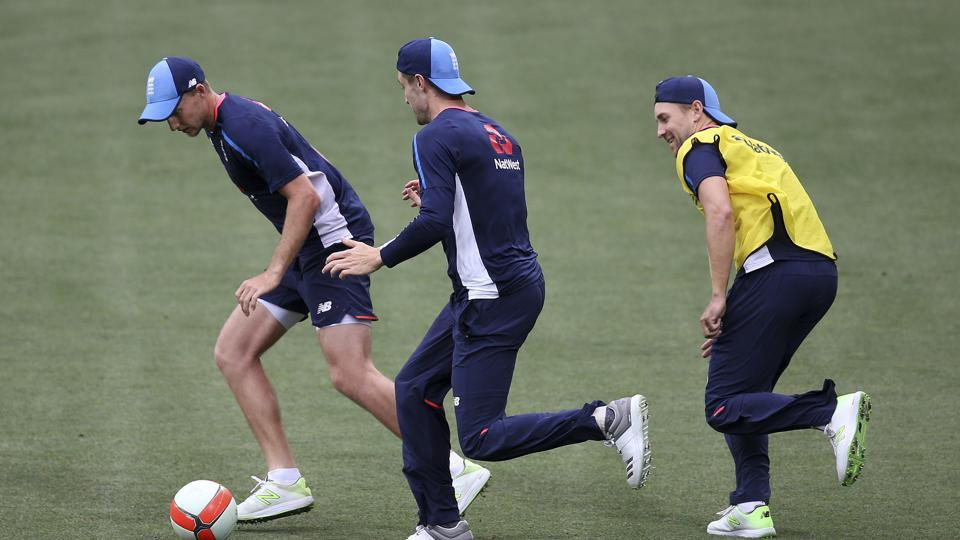 England's players participate in a football drill ahead of the Adelaide Pink Ball Test, the first time the Ashes will feature a Day-Night Test.  (AP)
