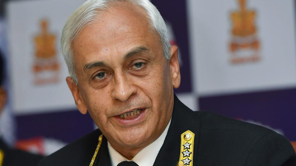 Chief of the Naval Staff Admiral Sunil Lanba at a news conference in New Delhi on Friday on the occasion of Navy Day.