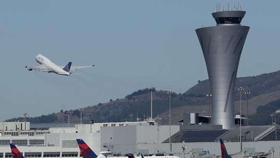 A plane takes off from an airport on October 24 in San Francisco.