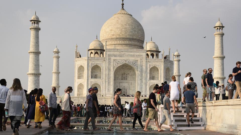 Tourists visiting Taj Mahal in Agra on October 11.