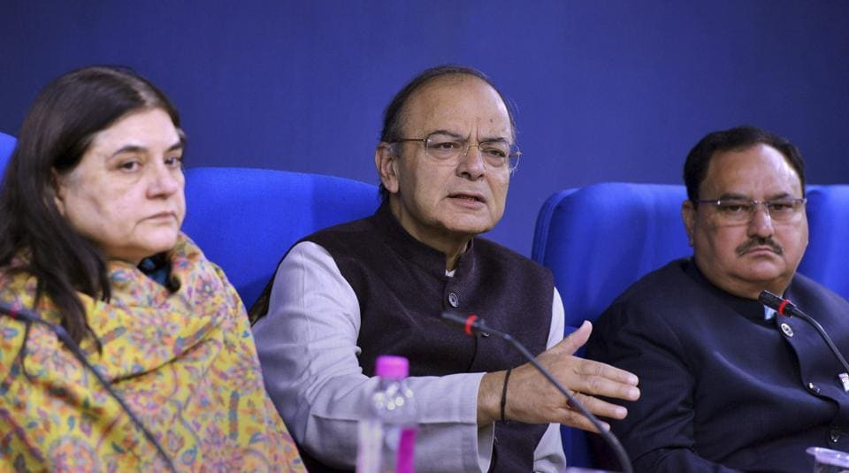 Union Ministers Arun Jaitley, Maneka Gandhi and J P Nadda during a press conference in New Delhi on Friday.