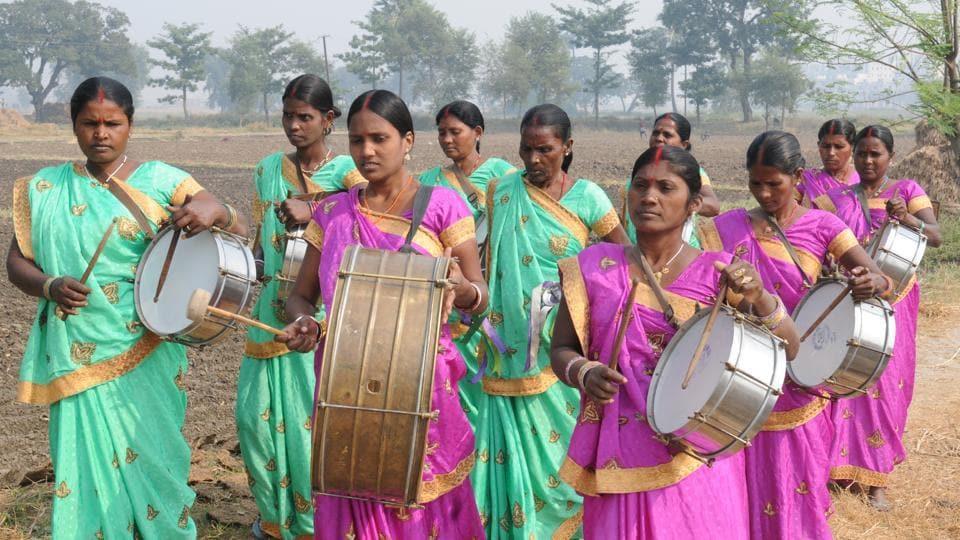 The all-woman 'Sargam Mahila Band' performs  at Dhibra village in Patna, Bihar on November 25, 2017.