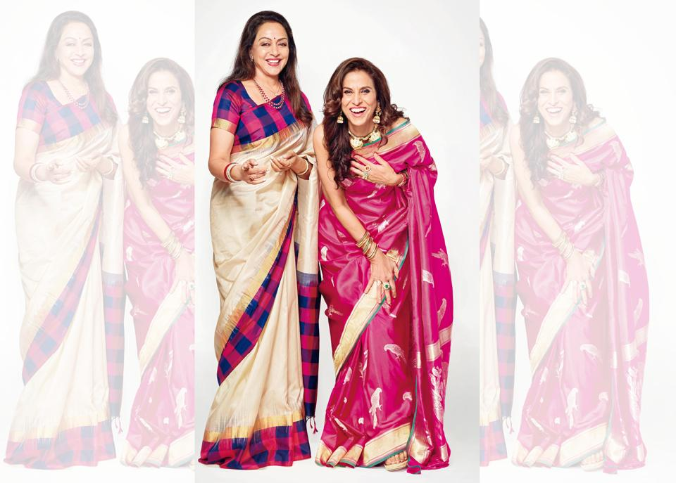They are the bold and the beautiful, and as they turn 70, instead of slowing down, they are stepping up in style. ( Hema Malini's make-up and hair is by Narendra Jadhav and Jaya M Surve and Shobhaa De's is by  Racinda Martis and Ronella Baptista. Hema Malini wears a sari by Neeta Lulla; Shobhaa De wears a sari from Roliana (Varanasi). Location Courtesy: JW Marriott Mumbai Juhu.)