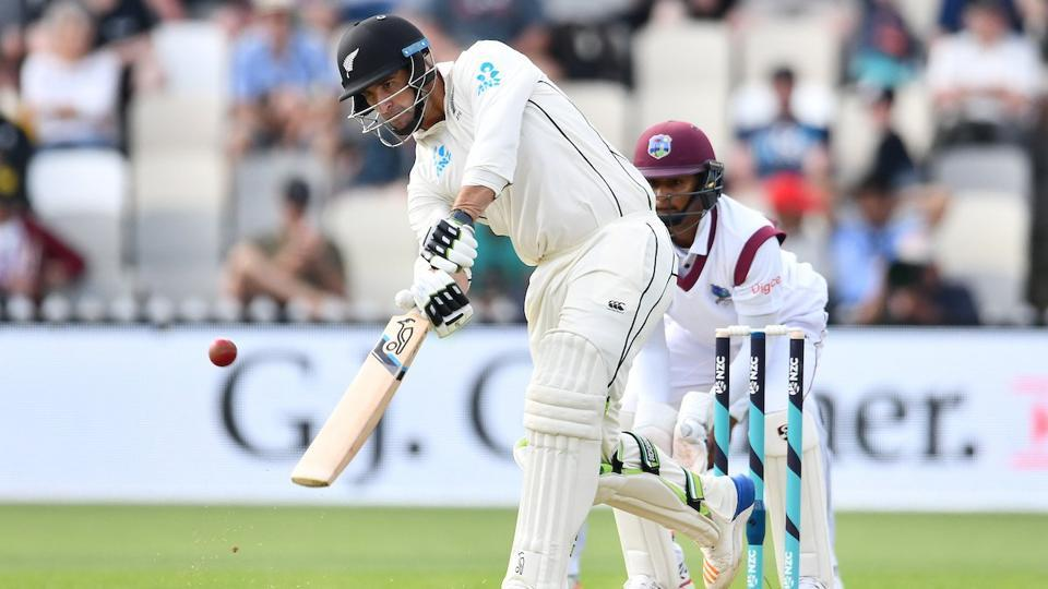 Colin de Grandhomme hit his maiden century in New Zealand's 1st Test vs the West Indies in Wellington on Saturday.