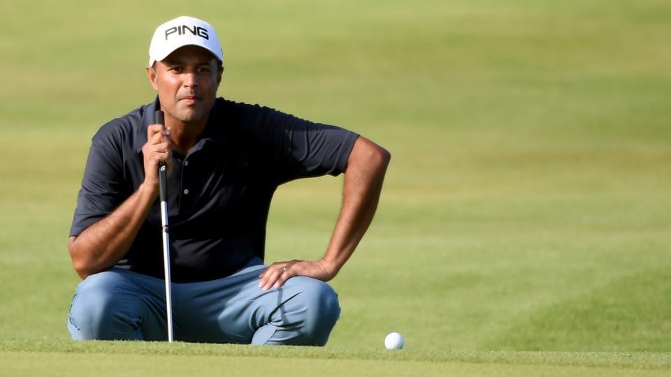 Arjun Atwal on the 18th green during the third round of the Mauritius Open golf tournament at Heritage Golf Club on December 2.