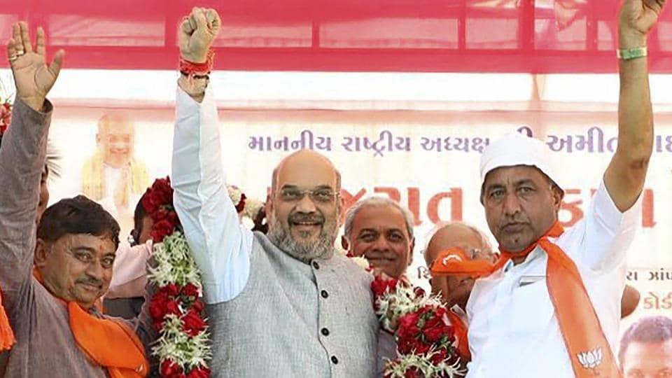 Bharatiya Janata Party national president Amit Shah at a public rally at Kodinar, Gujarat, on Friday.