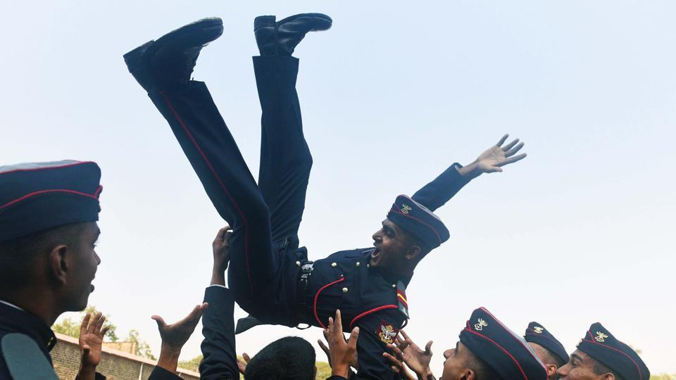 Cadets celebrate after the parade during the graduation ceremony of the 133rd course of National Defence Academy (NDA) in Pune, Maharashtra on November 30, 2017. (Pratham Gokhale / HT Photo)