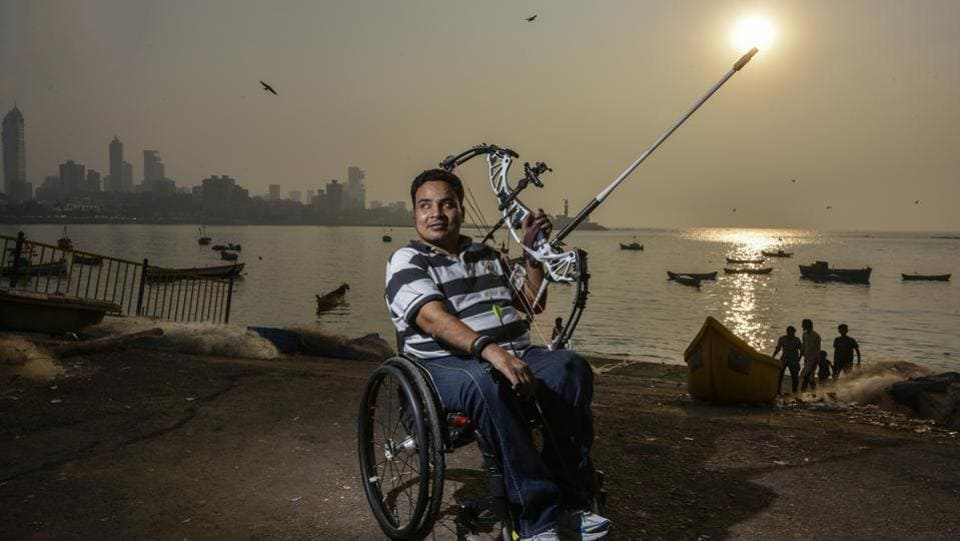 Adil Ansari was like any other teenager, hopeful of a bright future, but he was left paralysed under the neck after fracturing his spine in an accident in 2002. It took him three years to recover but he took it in his stride and turned his attention to paralympic sports. Now an archer, he's won gold in the wheelchair event at the 2016 First Senior Para Recurve, Compound & Indian Round National Archery Championship. He represented India in the World Para Archery Championship in Beijing in September this year.  (Kunal Patil / HT Photo)