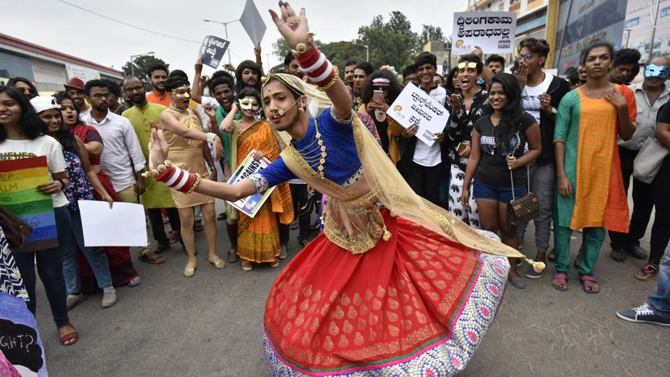 A participant in drag dances during the 10th year celebrations of Namma Pride and Karnataka Queer Habba in Bengaluru, Karnataka on November 26, 2017. (Arijit Sen / HT Photo)