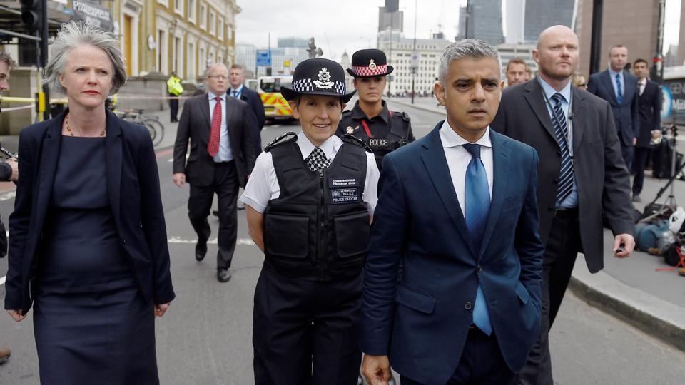 Mayor of London Sadiq Khan and Metropolitan Police Commissioner Cressida Dick visit the scene of the attack on London Bridge.