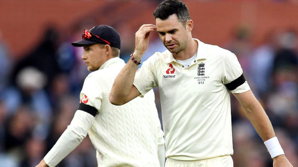 England cricket team's James Anderson (R) and captain Joe Root during the first day of the second Ashes 2017-18 Test against Australia cricket team in Adelaide onSaturday.