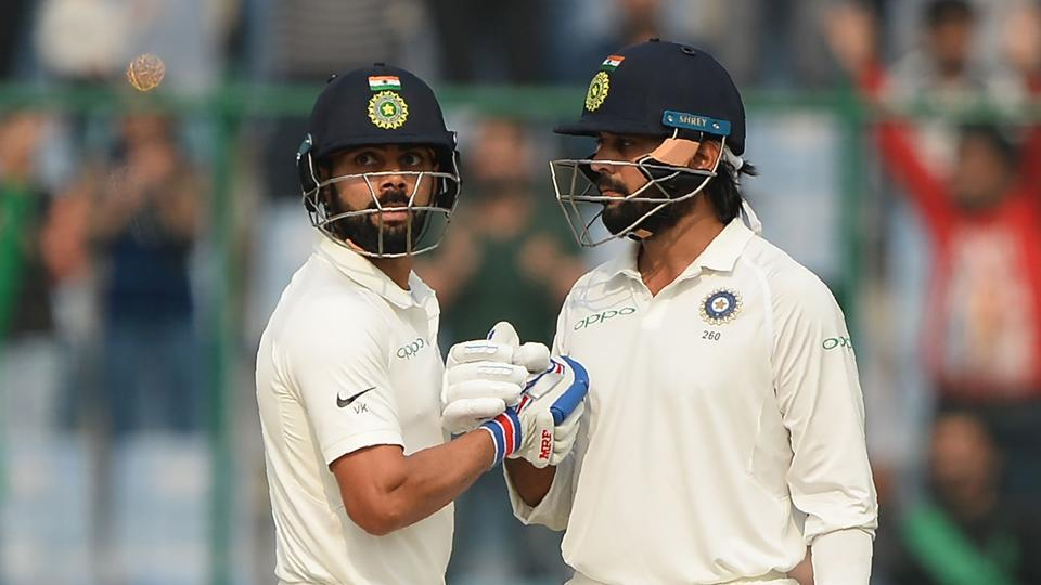Virat Kohli and Murali Vijay shared a 283-run stand on Day 1 of the third India vs Sri Lanka Test at Feroz Shah Kotla in New Delhi on Saturday. Get full cricket score of India vs Sri Lanka, third Test, Day 1 here.