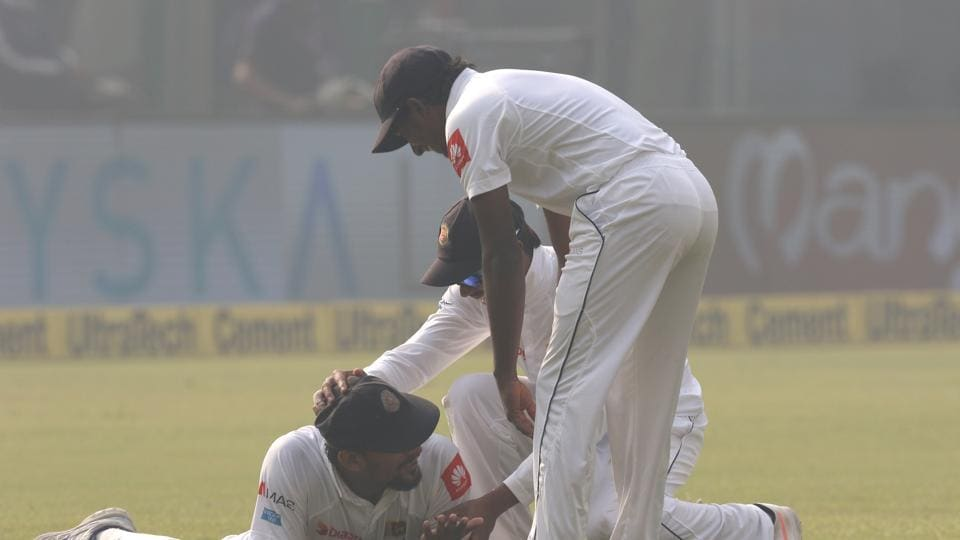 Suranga Lakmal slipped and lost his shoe but managed to hold on to  catch as Sri Lanka sent back Dhawan for 23.  (BCCI)