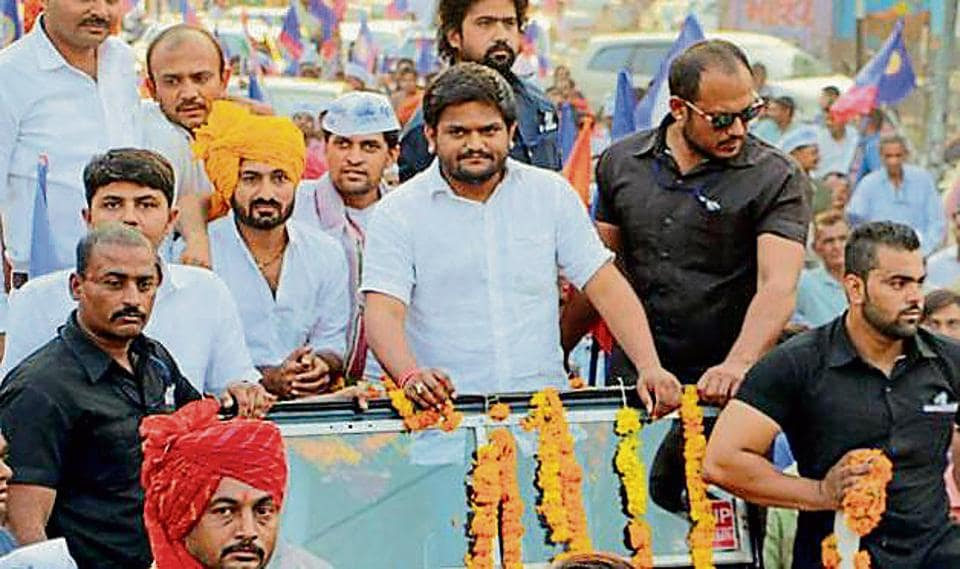 PAAS convener Hardik Patel during a road show in Bhavnagar.