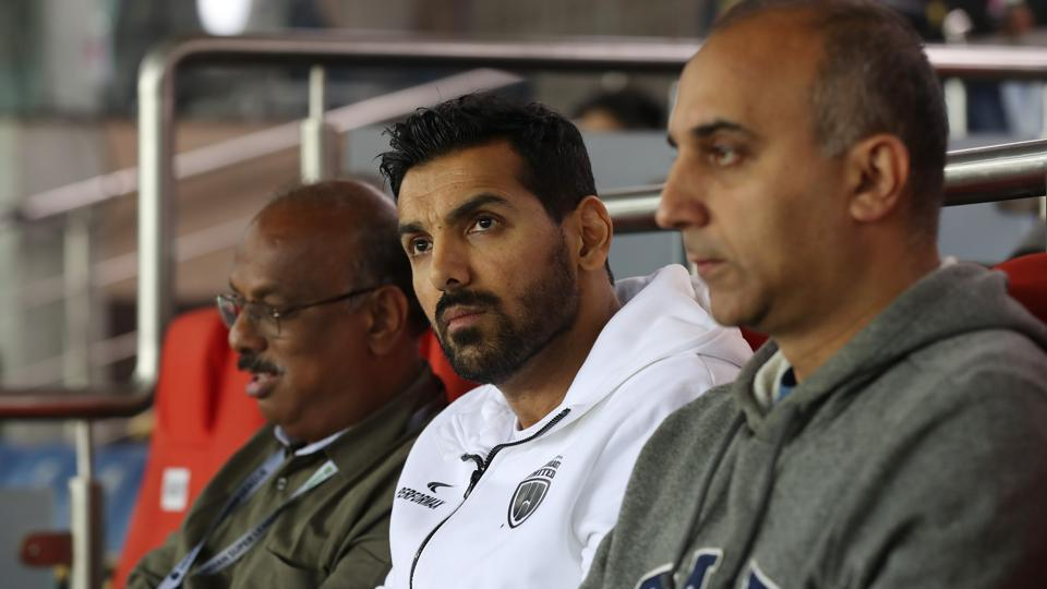 NorthEast United owner John Abraham was in attendance on what turned into a good night for his team.  (ISL / SPORTZPICS)