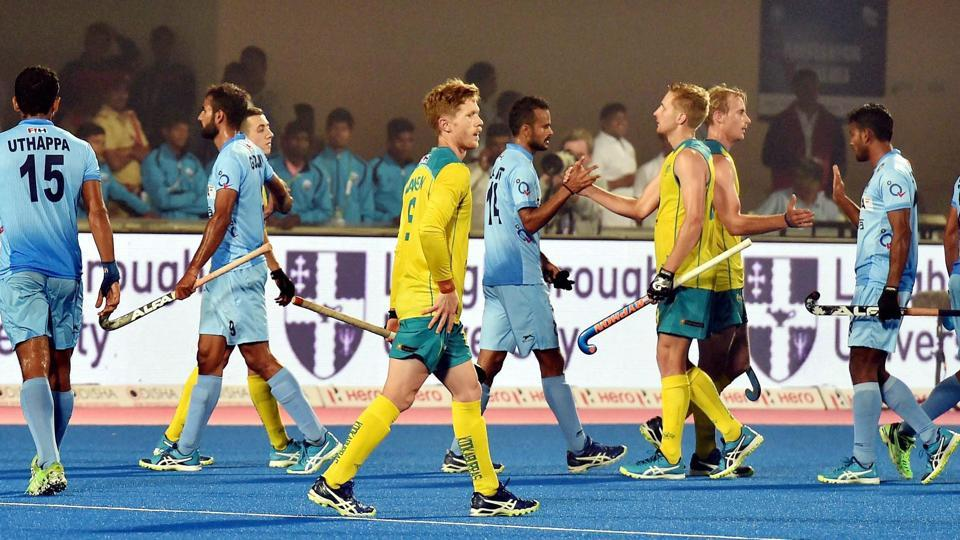 India and Australian players greet each other after 1-1 draw at the Men's Hockey World League Final 2017 in Bhubaneswar on Friday.