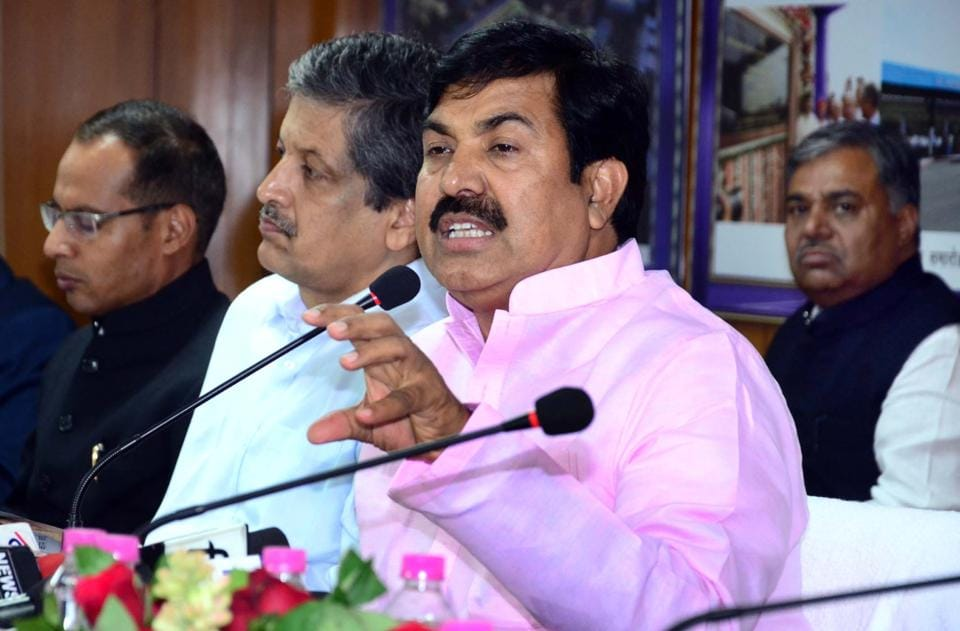 Rajasthan PWD and transport minister Yunus Khan interacts speaks to media persons at in Jaipur on Saturday.