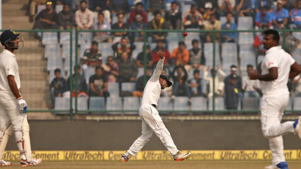 Sadeera Samarawickrama while fielding during Day 1 of India vs Sri Lanka third Test in New Delhi.