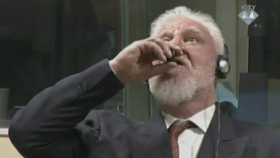 A wartime commander of Bosnian Croat forces, Slobodan Praljak, is seen during a hearing at the U.N. war crimes tribunal on November 29, 2017 in The Hague, Netherlands. Praljak drank from a vial of potassium cyanide and died after his 20-year term for war crimes in Bosnia in the 1990s had been upheld on Wednesday. (ICTY via REUTERS TV)