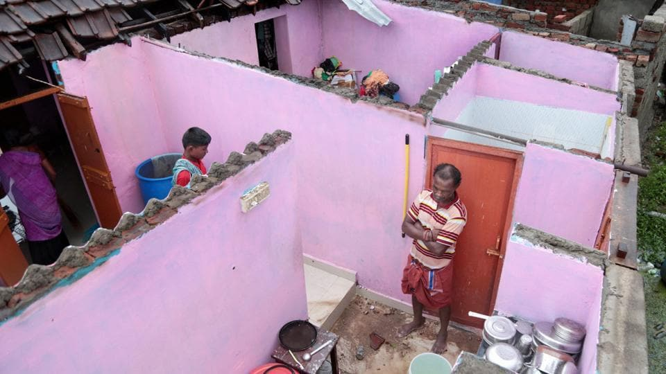 A damaged house with its roof blown away following storm winds at Nagercoil in Kanyakumari.  Kerala Chief Minister Pinarayi Vijayan Quoting meteorological reports, has said that it was a major relief that the cyclonic winds that were 70 km from the Kerala coastline on Thursday, are now around 200 km away. (PTI)