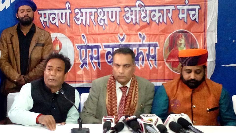 Sukhdev Singh Gogamedi (right), president, Shri Rashtriya Rajput Karni Sena addresses a press conference in Jaipur on Saturday.