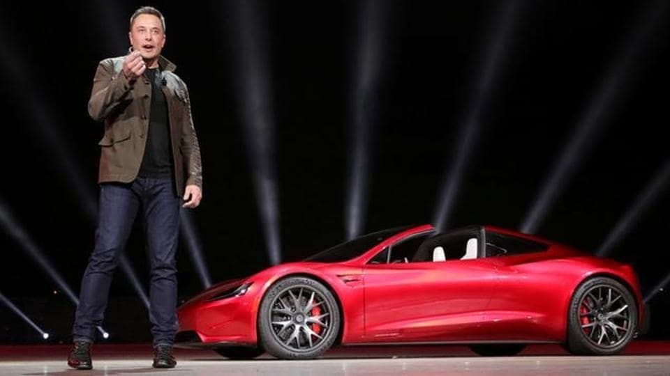 Tesla CEO Elon Musk unveiling the Roadster 2 during a presentation in Hawthorne California US