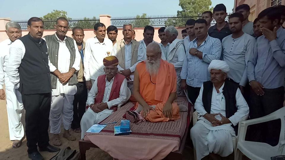 Vishnoi religious leader Swami Ramanand and other members of community on a dharna.