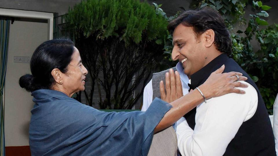 West Bengal Chief Minister Mamata Banerjee meeting with former UP Chief Minister Akhilesh Yadav at her Kalighat residence in Kolkata on Saturday.