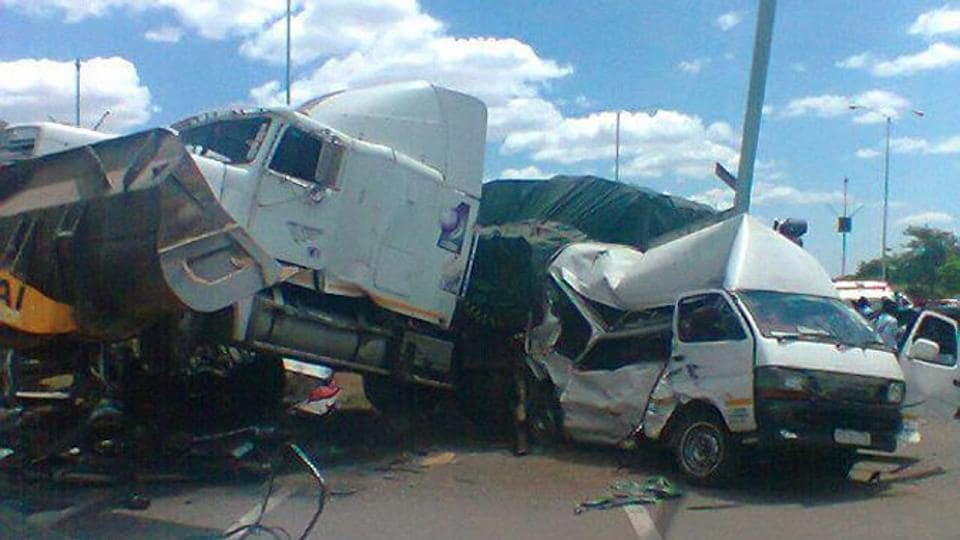 """The truck was carrying 69 passengers when it """"failed to negotiate a curve and overturned"""" at a business centre in the district of Tsholotsho on Saturday evening."""