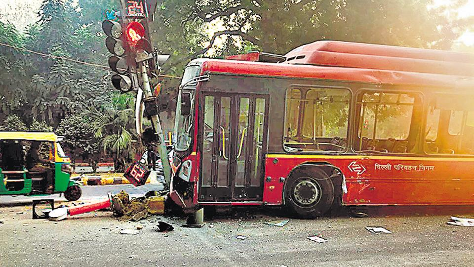 The air-conditioned DTC bus was speeding and did not stop at the red light, police said.