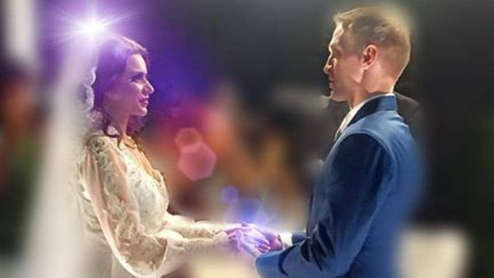 Aashka Goradia and Brent Goble at their wedding.
