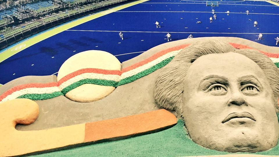 Dhyan Chand's sand sculpture, made by sand artist Sudarsan Pattnaik on the occasion of the Indian hockey legend's death anniversary on December 3.