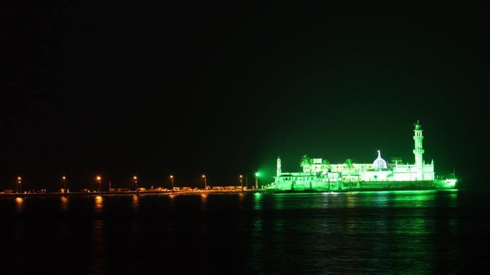 Haji Ali dargah was lit up in green on the occasion of Eid on Saturday.