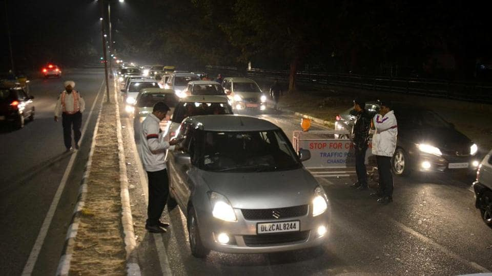 Traffic police checking drunk driving on the road separating Sectors 23 and 24 in Chandigarh on Saturday.