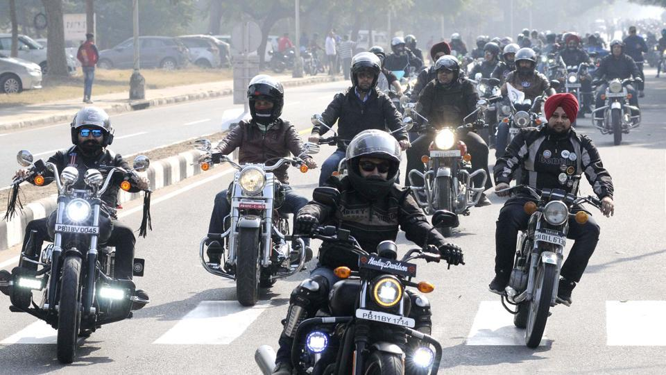 A motorbike rally to promote the Military Literature Festival in Chandigarh on Sunday.